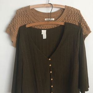 Two Fall Sweaters Olive & Amber